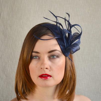 ELĪNA tumši zila galvas rota ar spalvām
