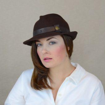 DAKOTA - brūna vilnas vilca fedora cepure