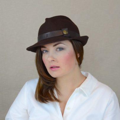 DAKOTA – brūna vilnas vilca fedora cepure