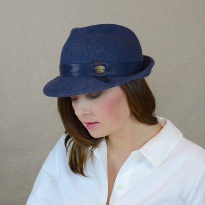 DAKOTA – zila filca fedora cepure