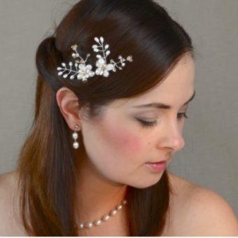 Matu rota līgavai ar upes pērlēm un Swarovski kristāliem - MR07
