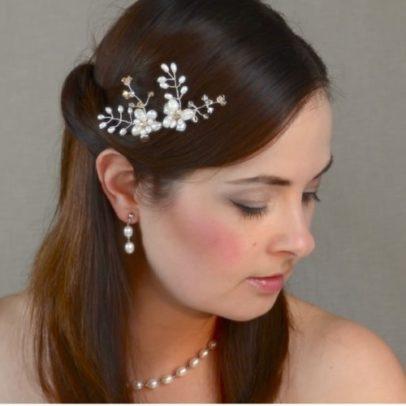 Matu rota līgavai ar upes pērlēm un Swarovski kristāliem – MR07